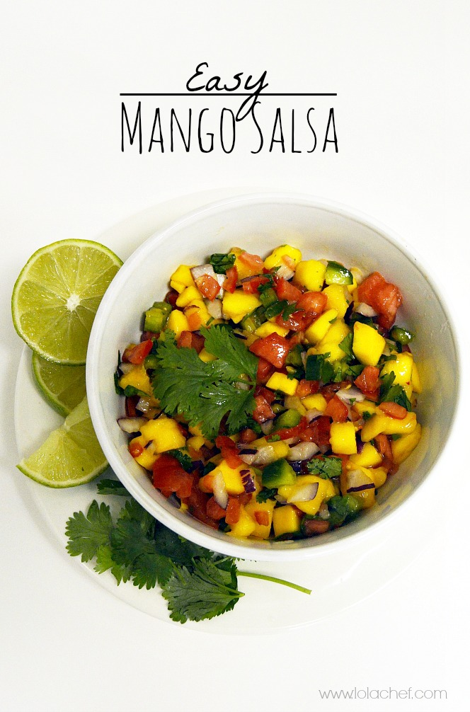 Salsa with delicious mango and fresh cilantro and lime juice and a spicy heat.
