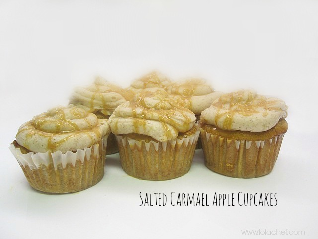 Delicious caramel apples in a moist cupcake topped with fresh caramel and salt.