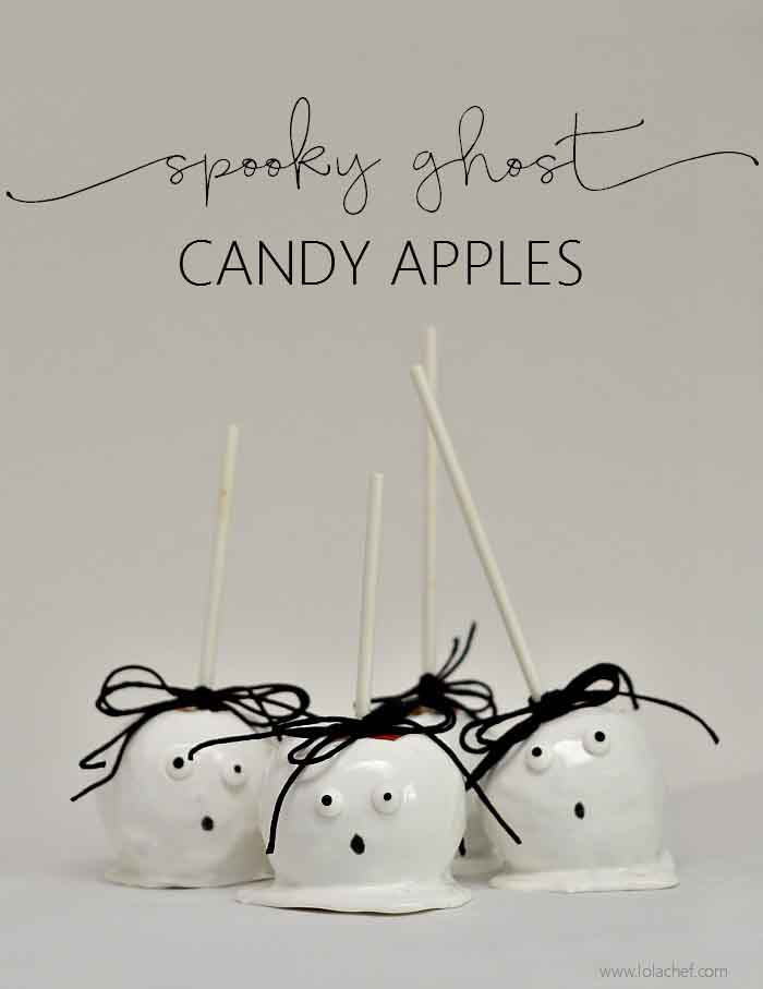 Fun and spooky candy apples that look like cute little ghosts.