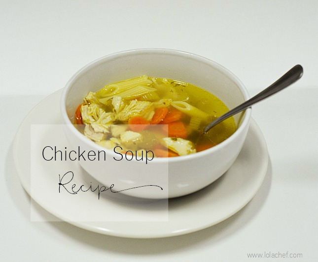 A homemade chicken soup recipe using fresh ingredients from scratch.