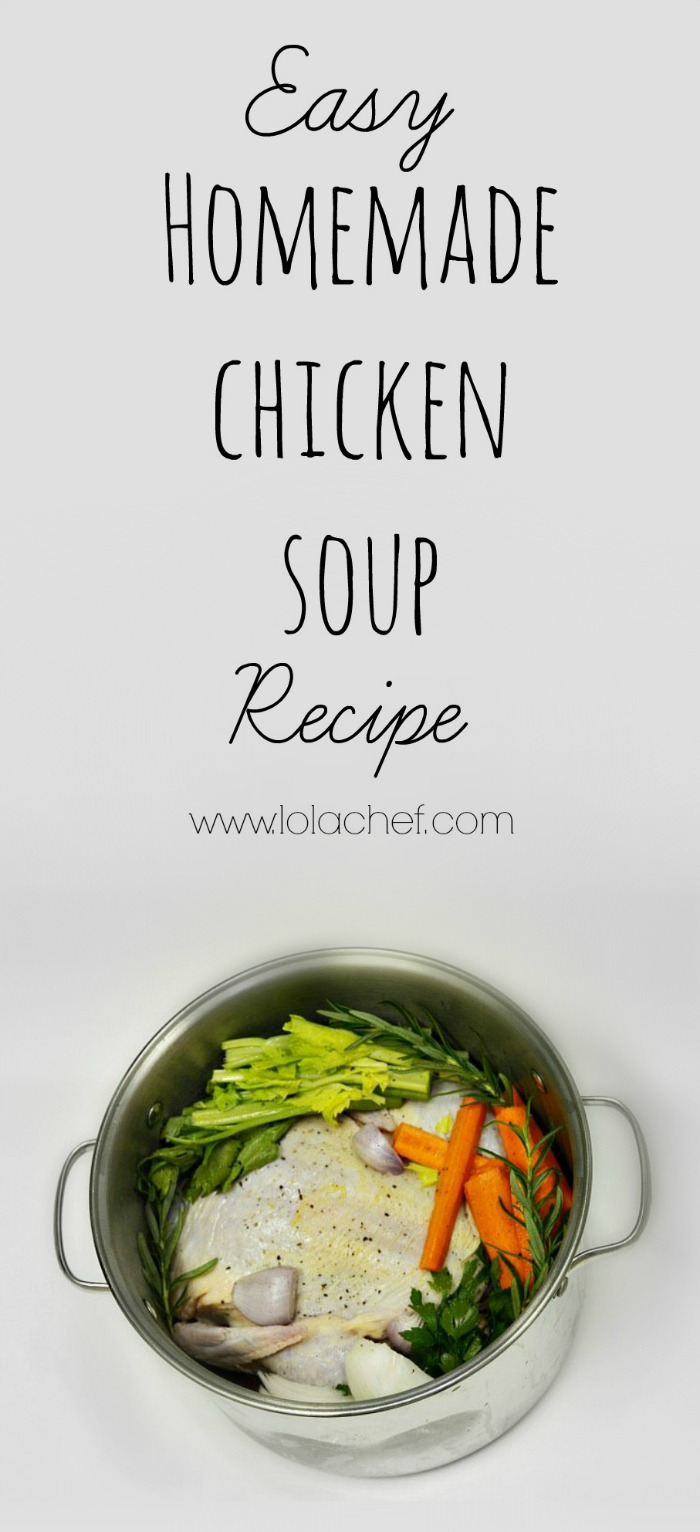 A recipe for homemade chicken soup from scratch.