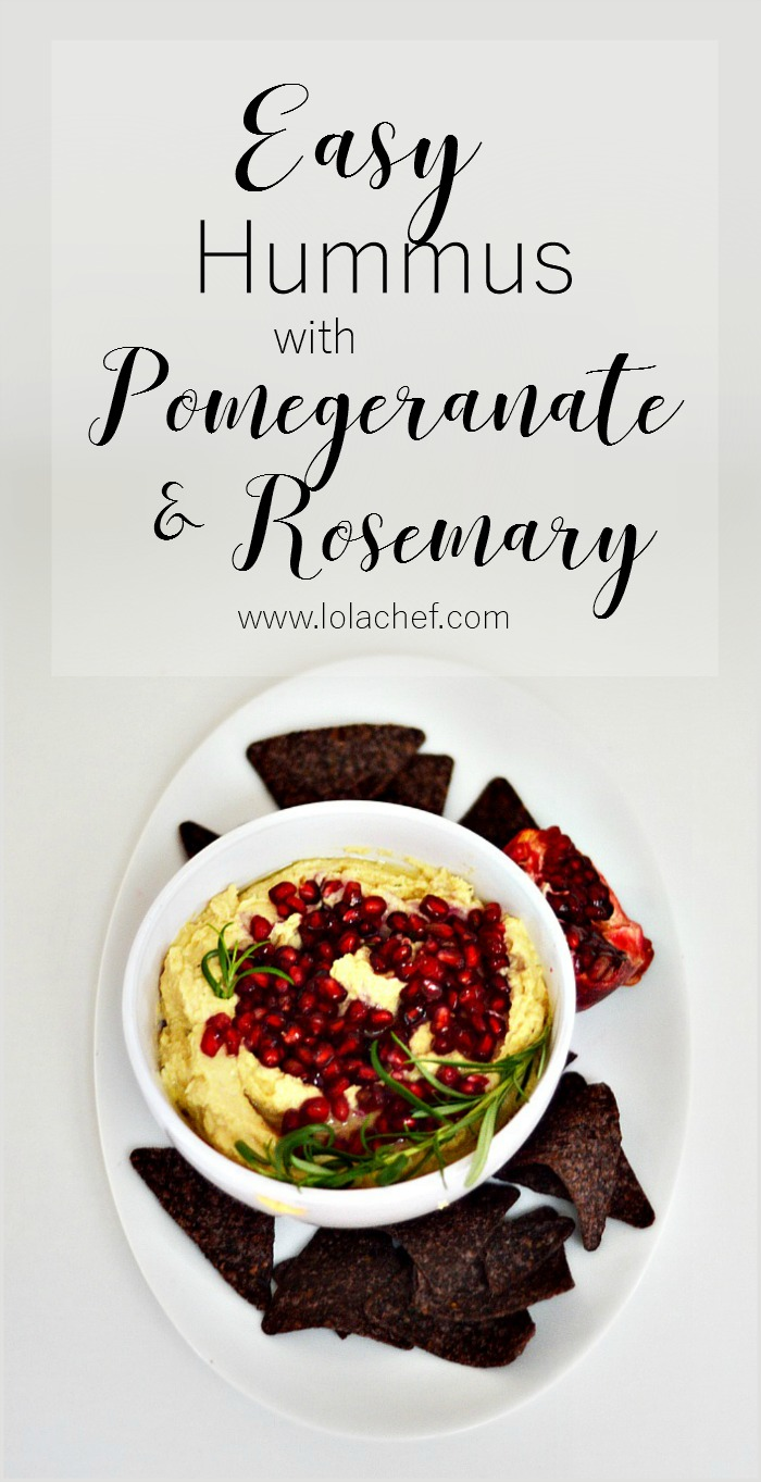 A hummus recipe using rosemary, garlic, and pomegranate.