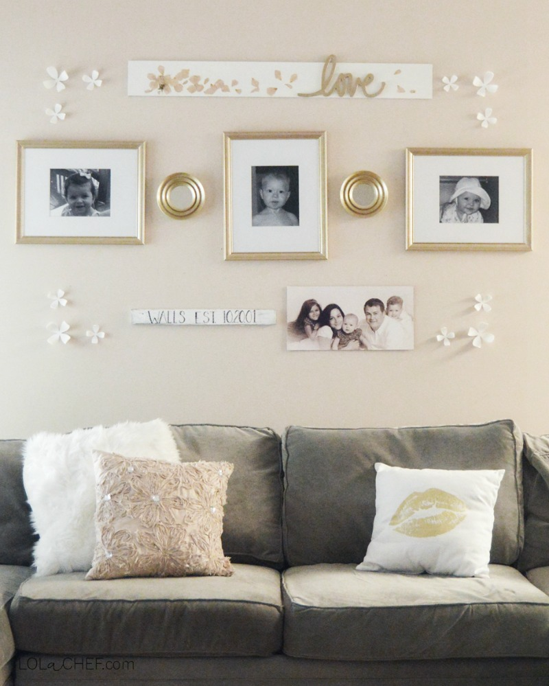 A simple and easy way to use a gallery wall to display family photos.