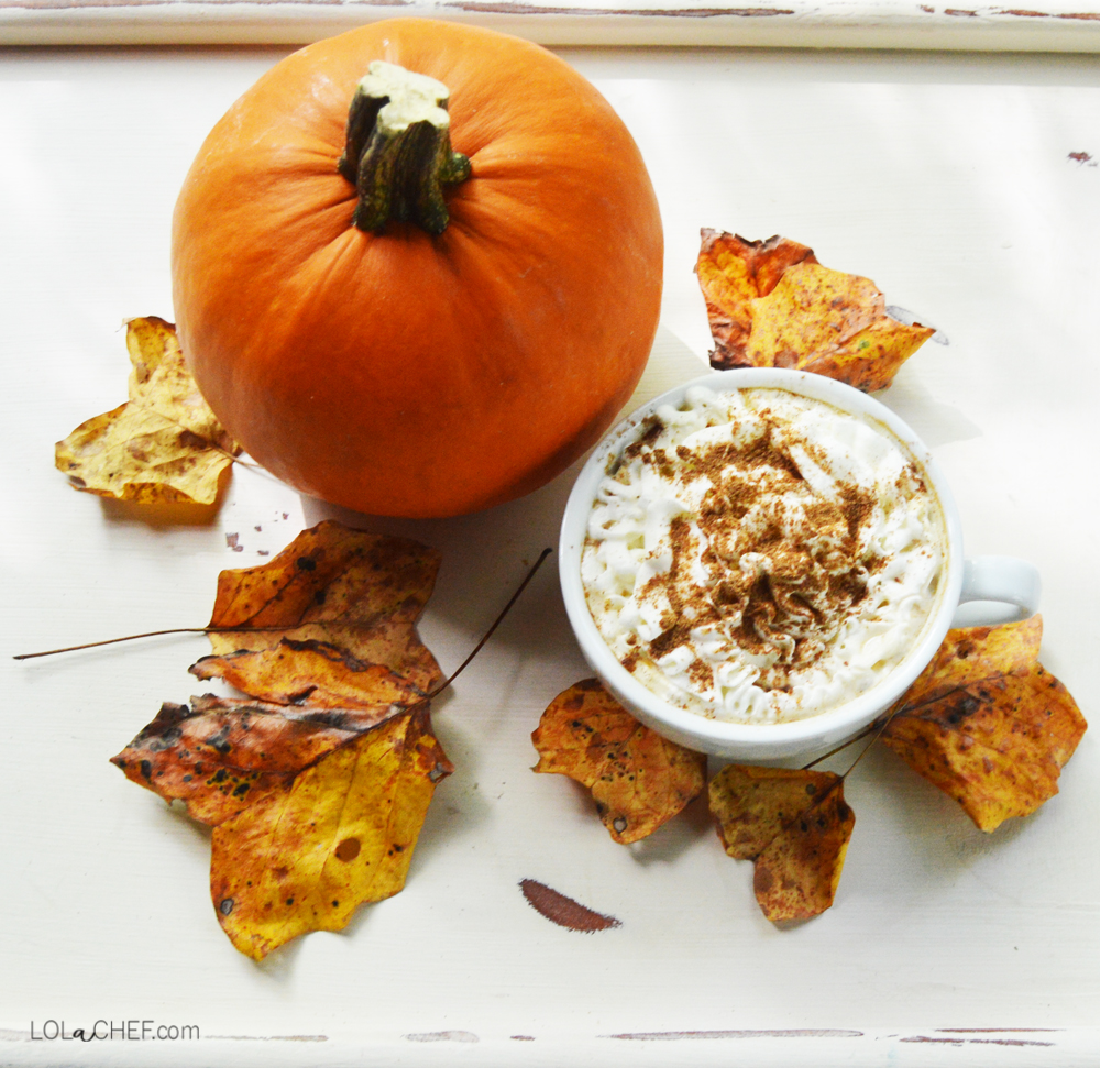 A recipe for a healthy made at home gluten and lactose free pumpkin spice latte.